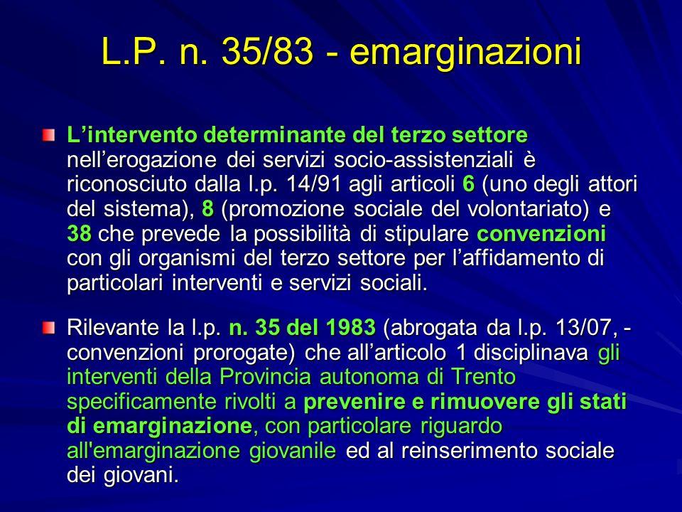 L.P. n. 35/83 - emarginazioni