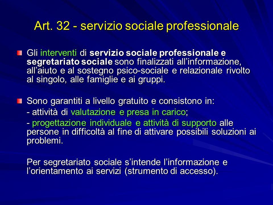 Art. 32 - servizio sociale professionale