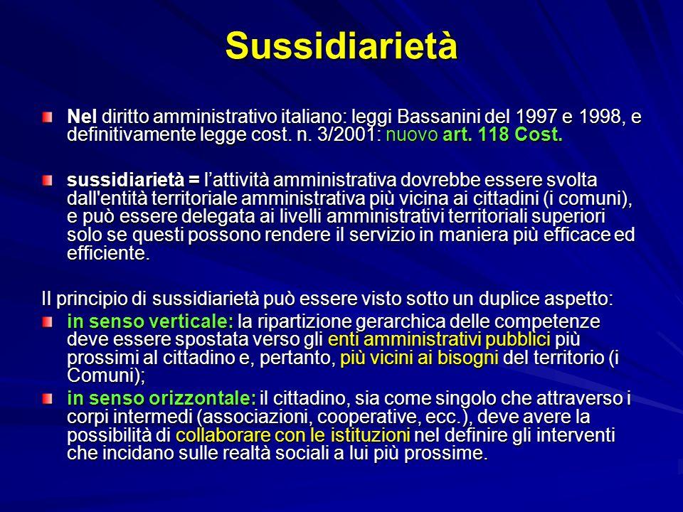 Sussidiarietà Nel diritto amministrativo italiano: leggi Bassanini del 1997 e 1998, e definitivamente legge cost. n. 3/2001: nuovo art. 118 Cost.