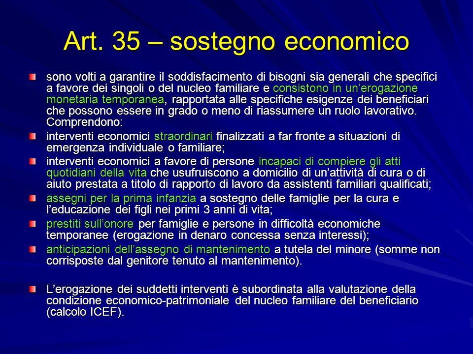Art. 35 – sostegno economico