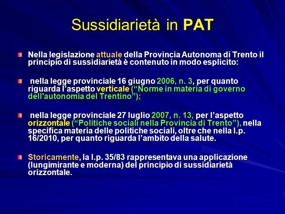 Sussidiarietà in PAT Nella legislazione attuale della Provincia Autonoma di Trento il principio di sussidiarietà è contenuto in modo esplicito: