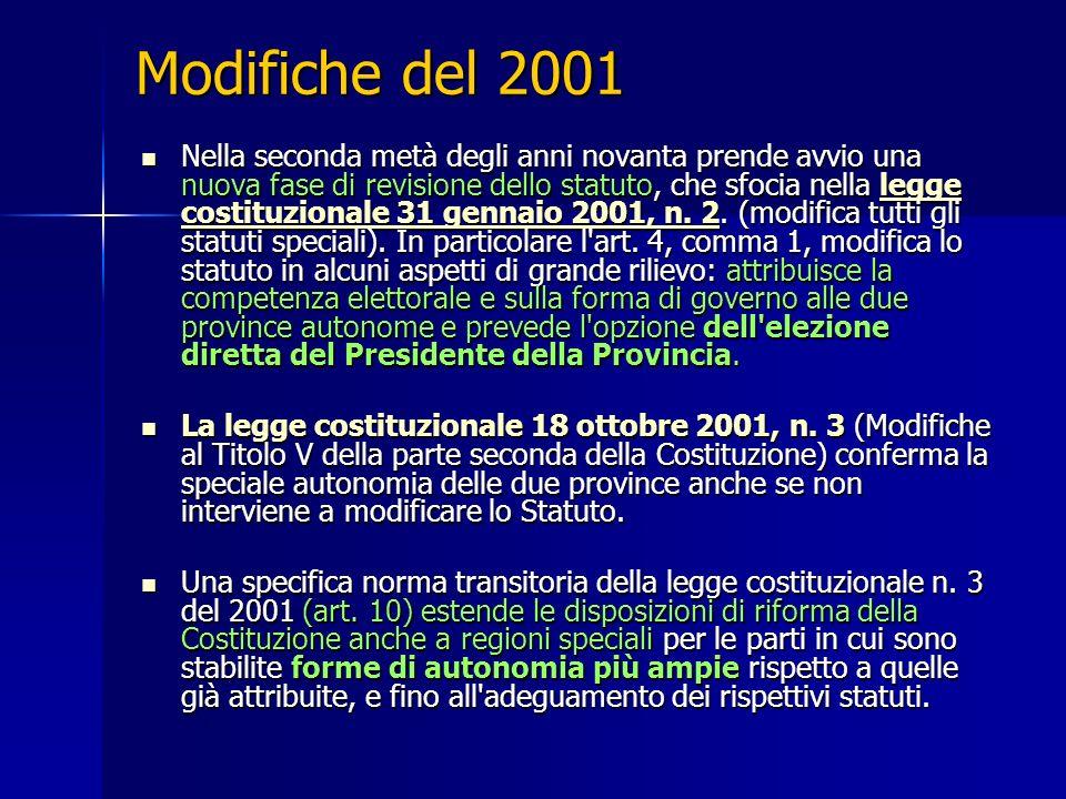 Modifiche del 2001