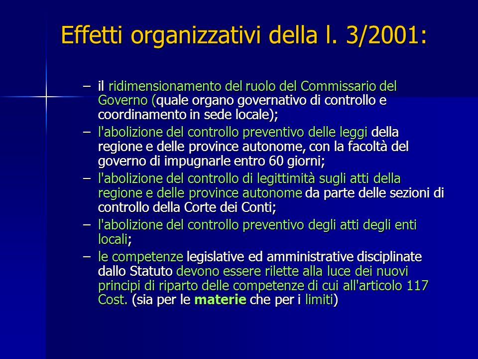 Effetti organizzativi della l. 3/2001: