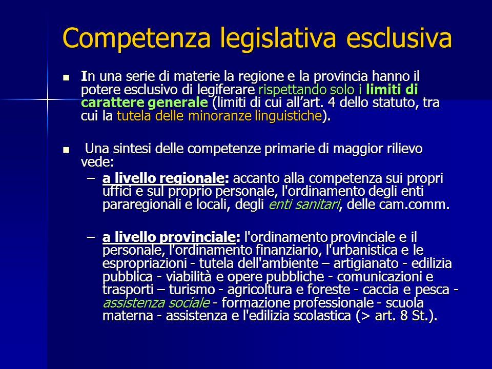 Competenza legislativa esclusiva