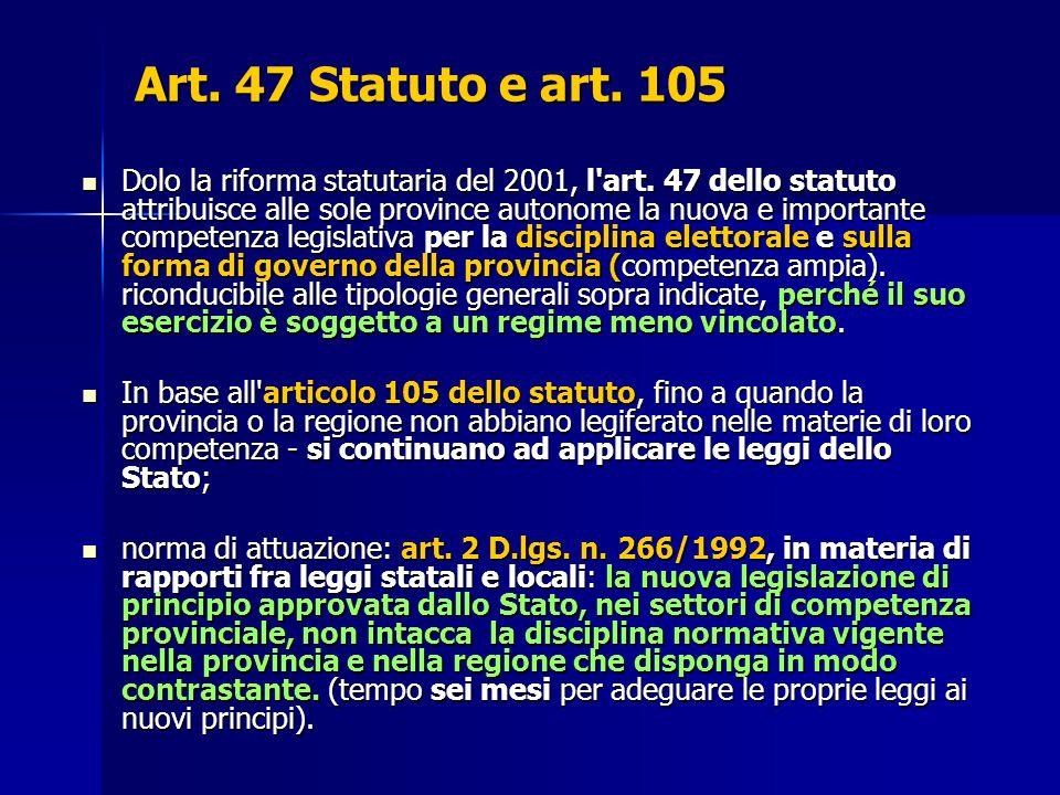 Art. 47 Statuto e art. 105