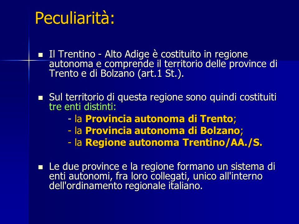 Peculiarità: Il Trentino - Alto Adige è costituito in regione autonoma e comprende il territorio delle province di Trento e di Bolzano (art.1 St.).