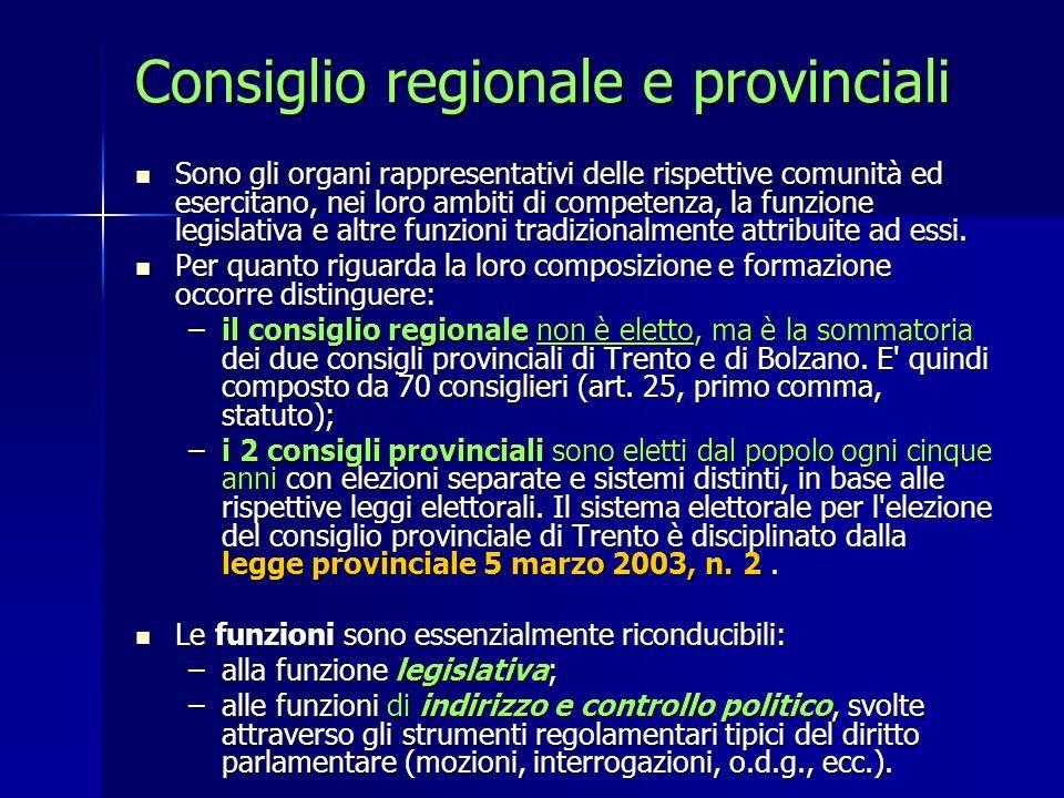 Consiglio regionale e provinciali