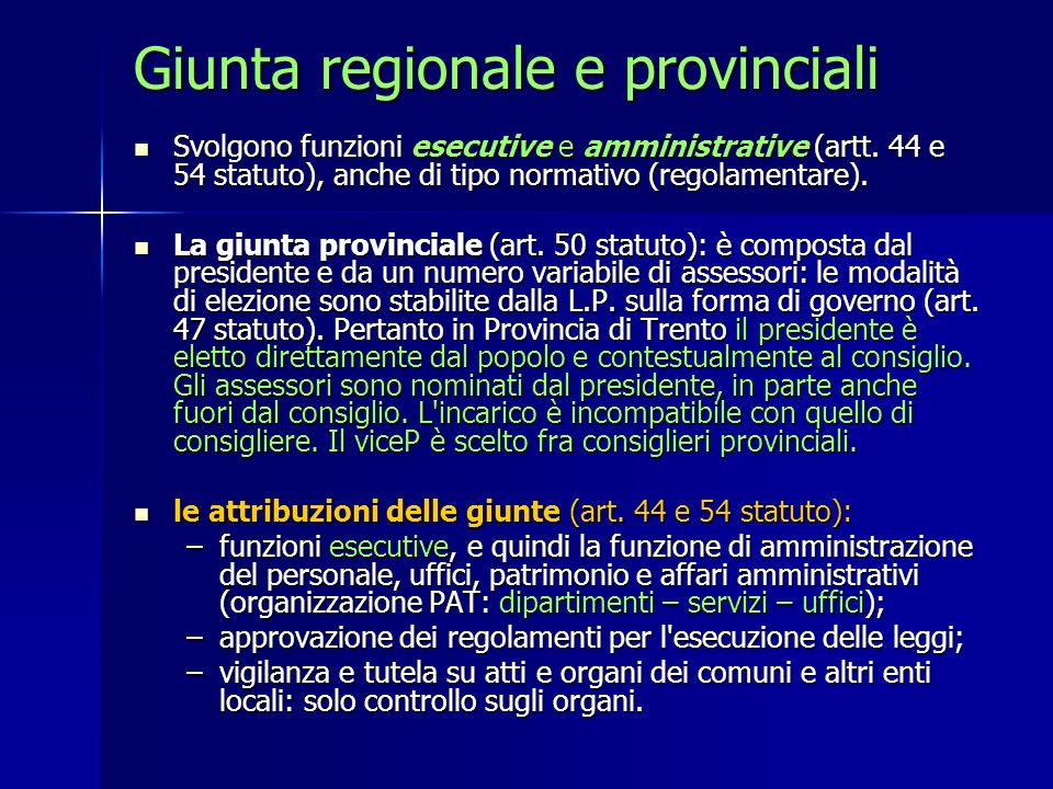 Giunta regionale e provinciali