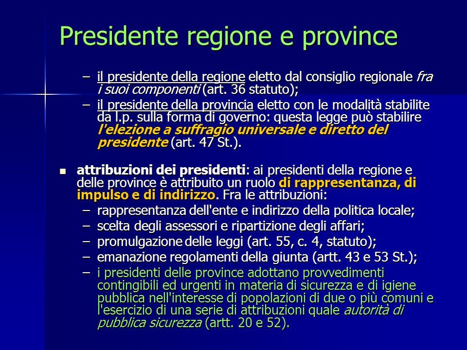 Presidente regione e province