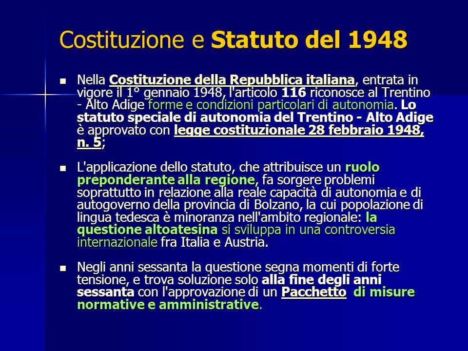 Costituzione e Statuto del 1948