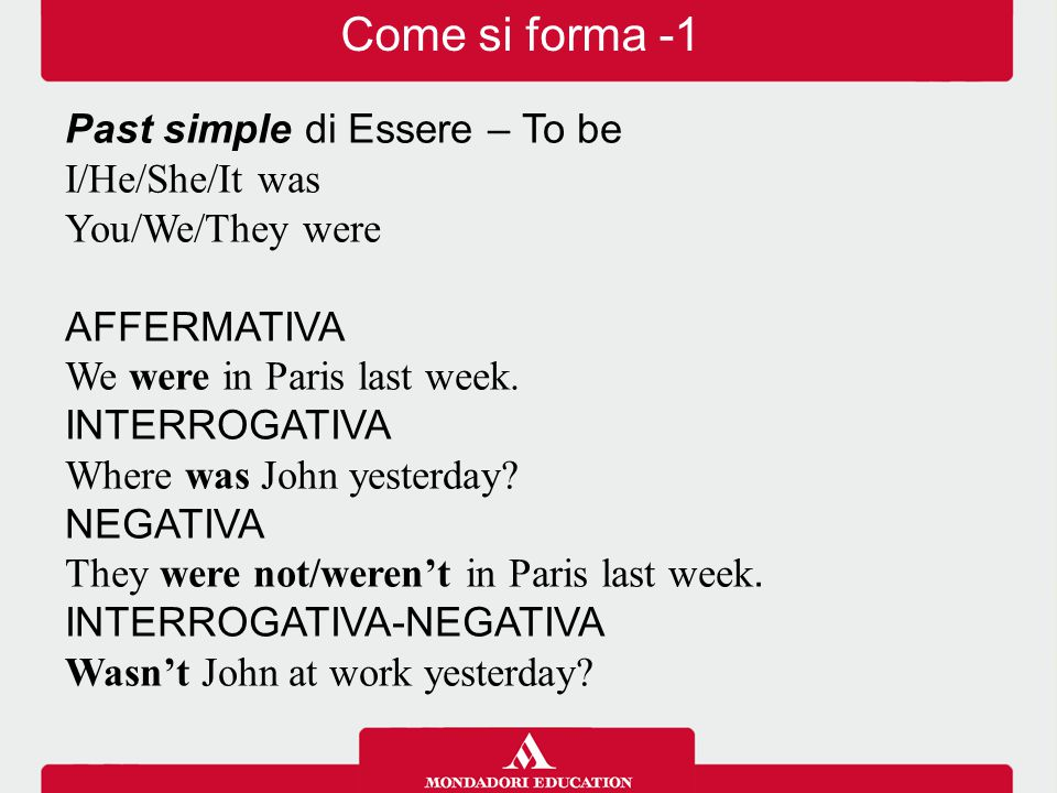 Come si forma -1 Past simple di Essere – To be I/He/She/It was