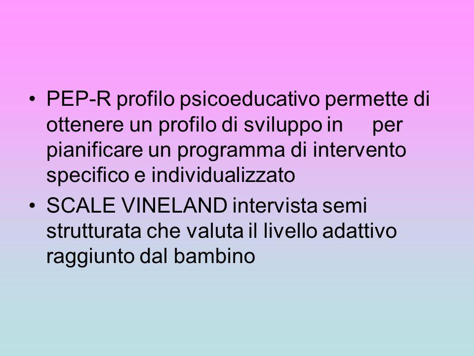 PEP-R profilo psicoeducativo permette di ottenere un profilo di sviluppo in per pianificare un programma di intervento specifico e individualizzato