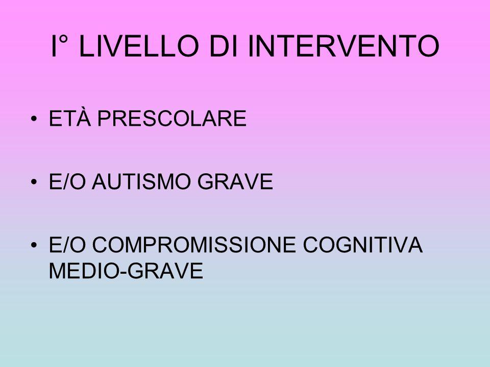 I° LIVELLO DI INTERVENTO