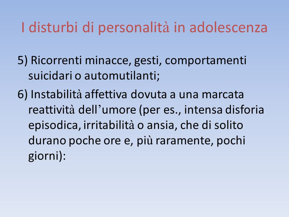 I disturbi di personalità in adolescenza