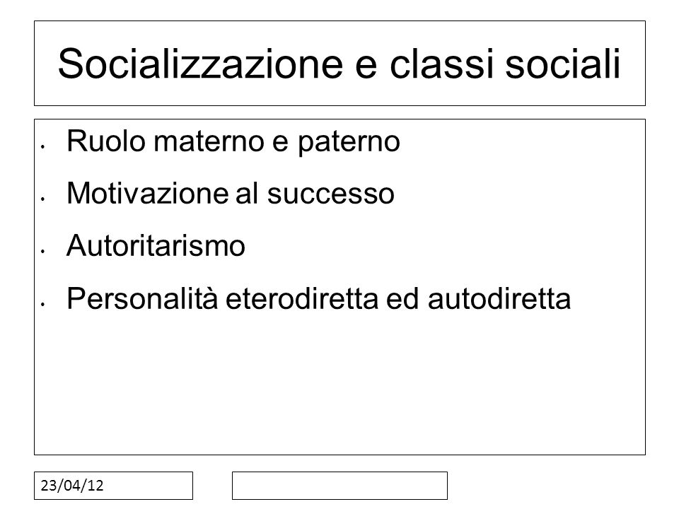 Socializzazione e classi sociali