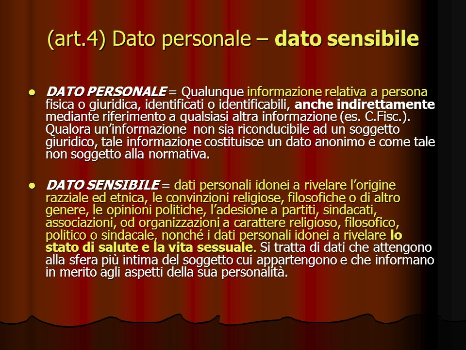 (art.4) Dato personale – dato sensibile