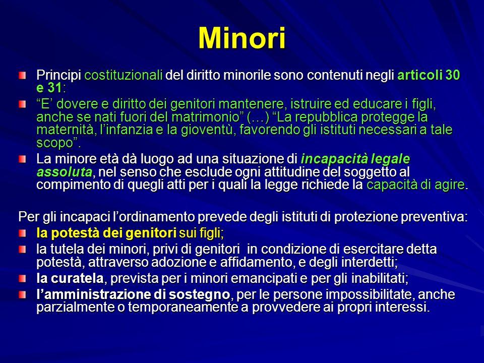Minori Principi costituzionali del diritto minorile sono contenuti negli articoli 30 e 31: