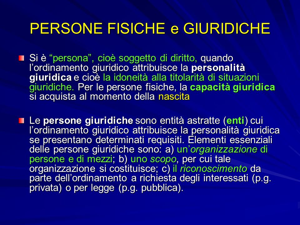 PERSONE FISICHE e GIURIDICHE