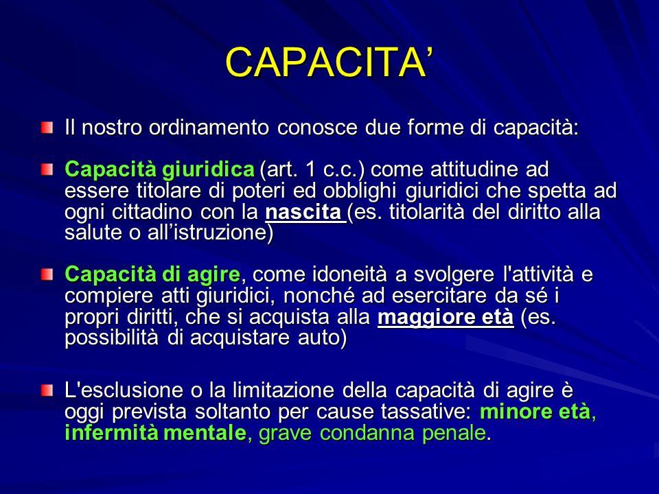 CAPACITA' Il nostro ordinamento conosce due forme di capacità: