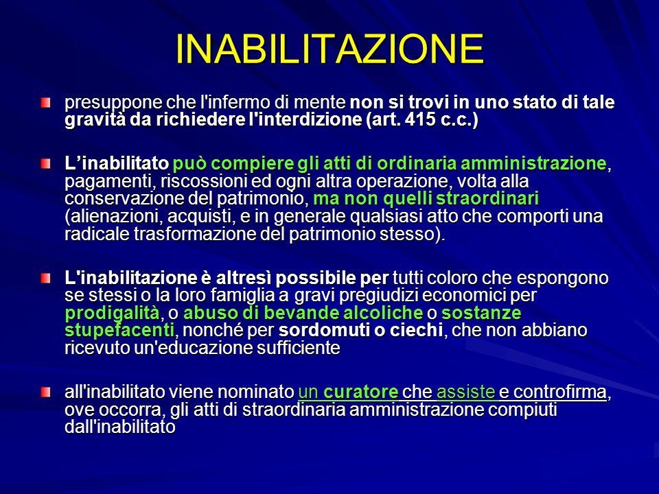 INABILITAZIONE presuppone che l infermo di mente non si trovi in uno stato di tale gravità da richiedere l interdizione (art. 415 c.c.)
