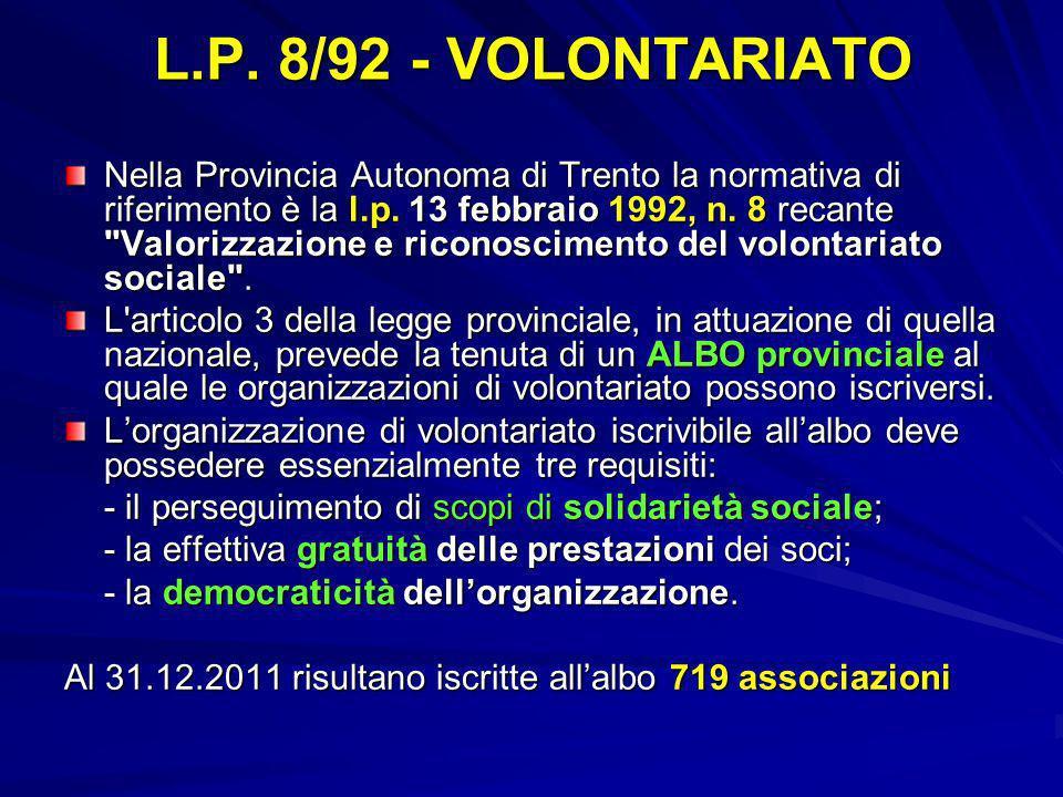 L.P. 8/92 - VOLONTARIATO
