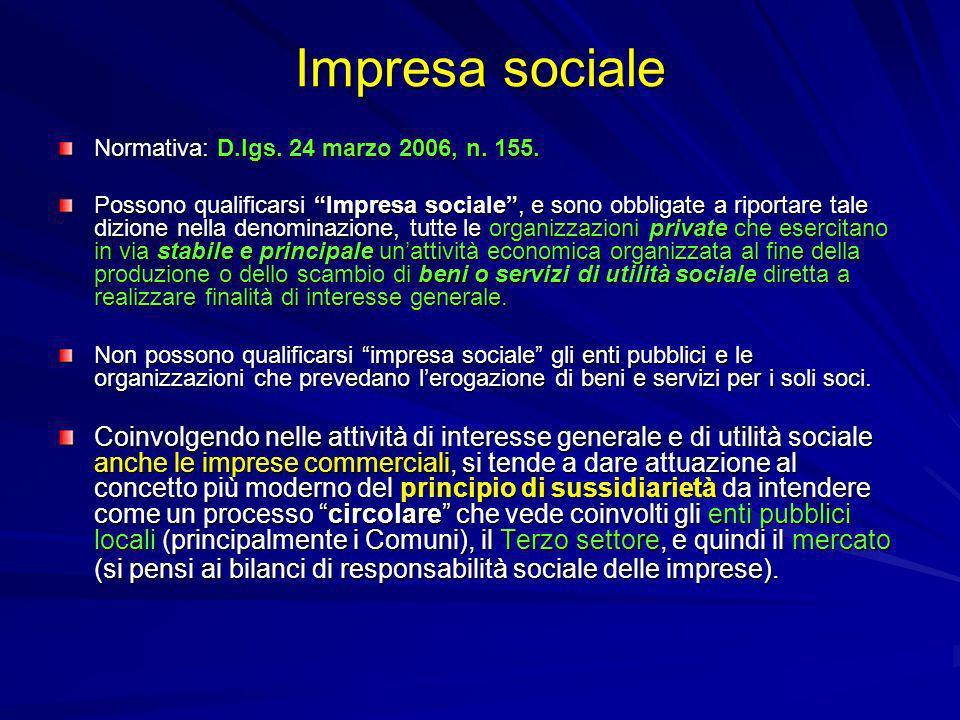 Impresa sociale Normativa: D.lgs. 24 marzo 2006, n. 155.