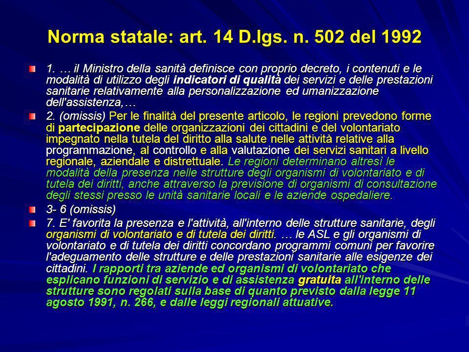 Norma statale: art. 14 D.lgs. n. 502 del 1992