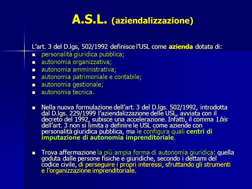 A.S.L. (aziendalizzazione)