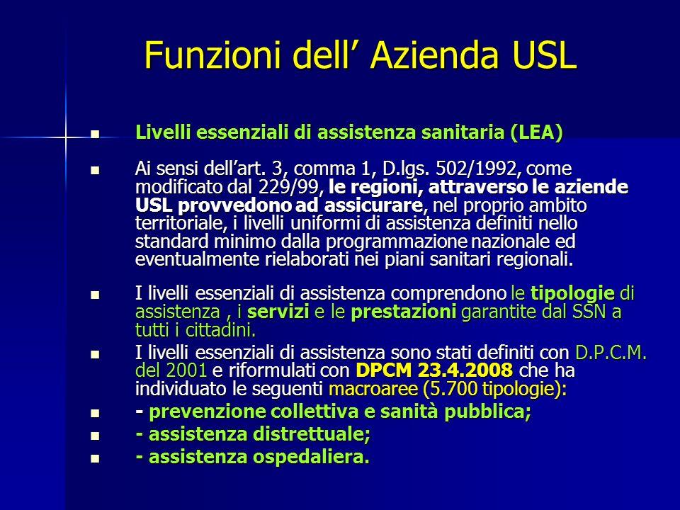 Funzioni dell' Azienda USL