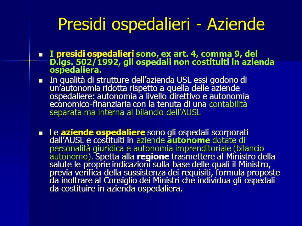 Presidi ospedalieri - Aziende