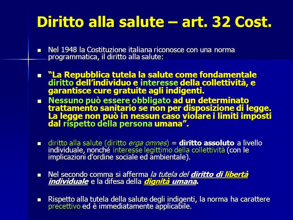 Diritto alla salute – art. 32 Cost.