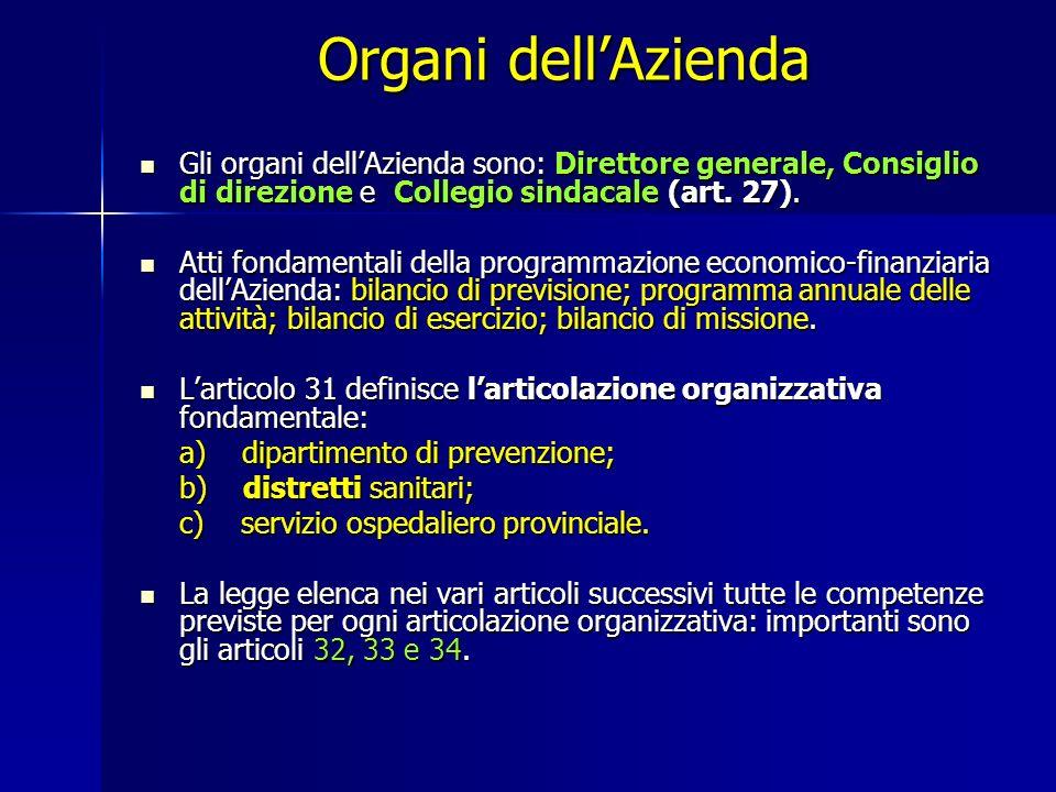 Organi dell'Azienda Gli organi dell'Azienda sono: Direttore generale, Consiglio di direzione e Collegio sindacale (art. 27).