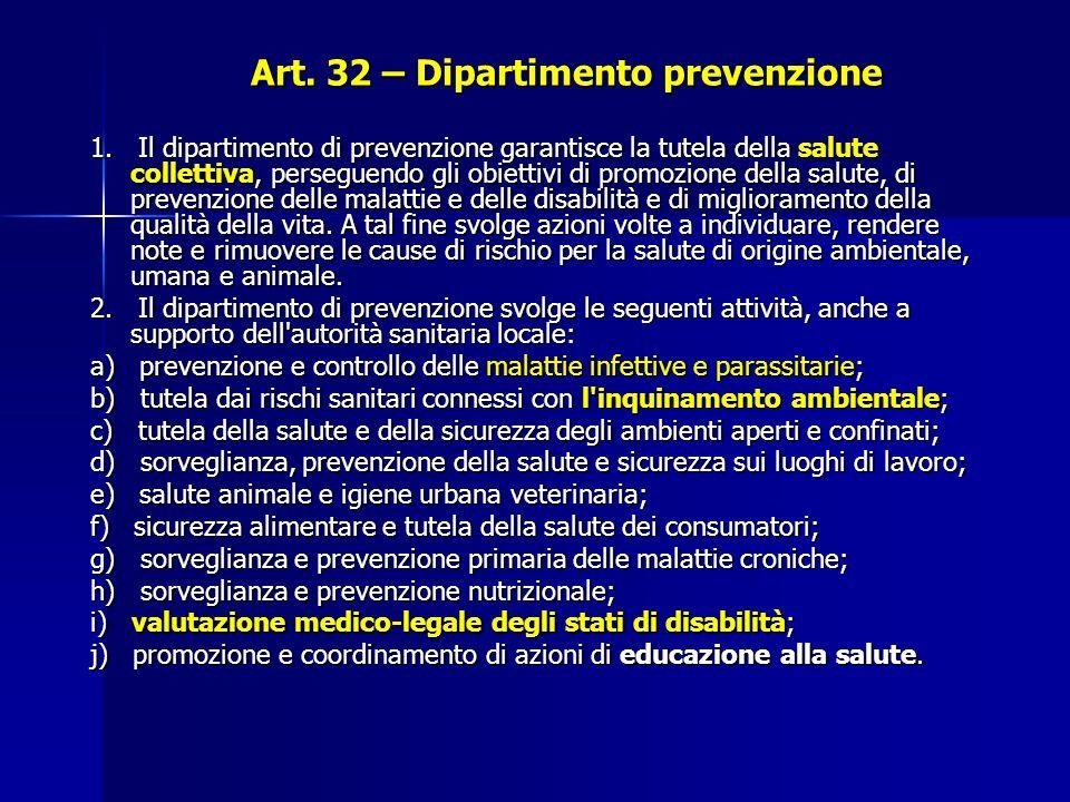 Art. 32 – Dipartimento prevenzione