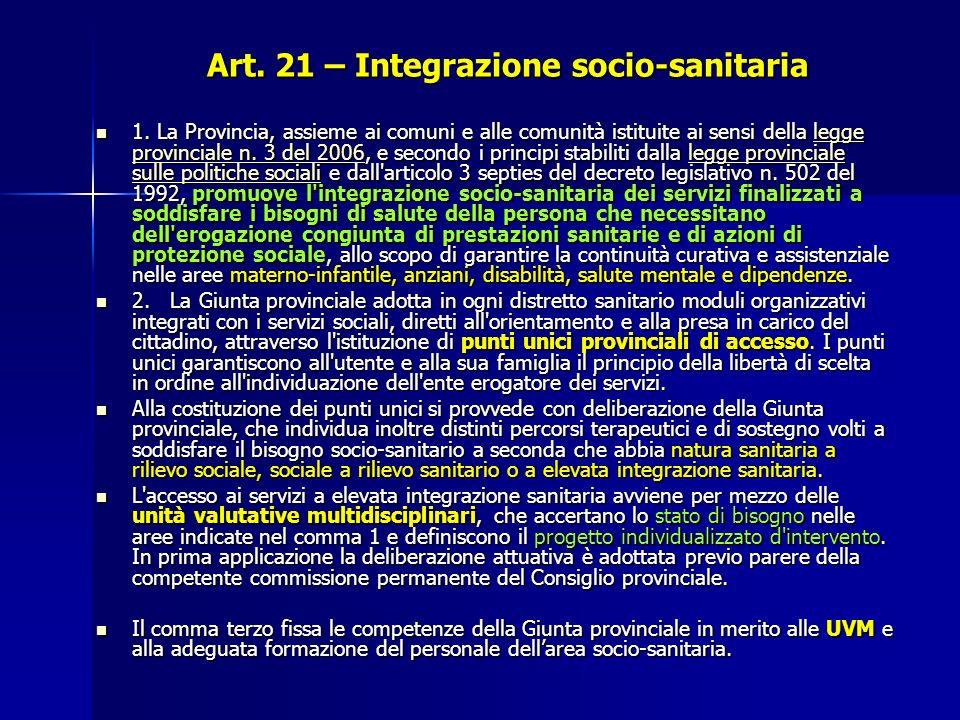 Art. 21 – Integrazione socio-sanitaria