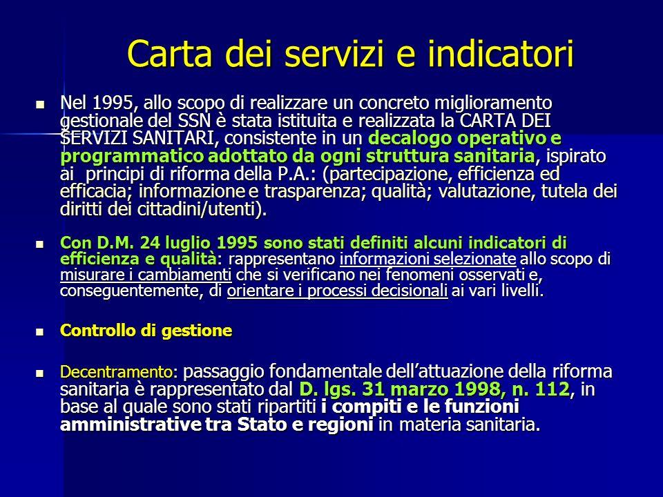 Carta dei servizi e indicatori