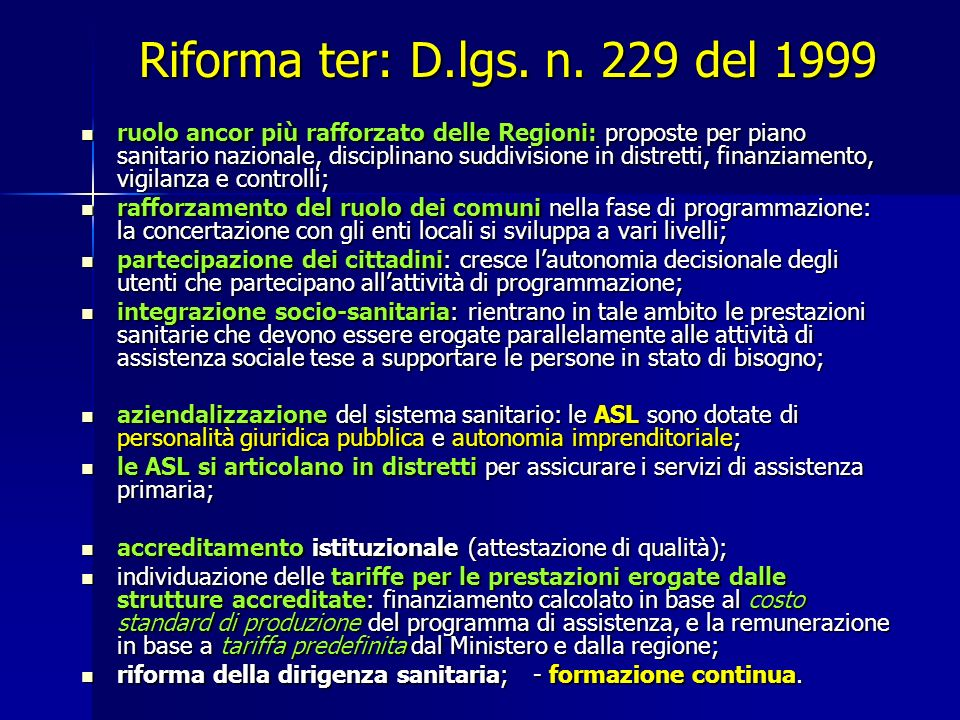 Riforma ter: D.lgs. n. 229 del 1999