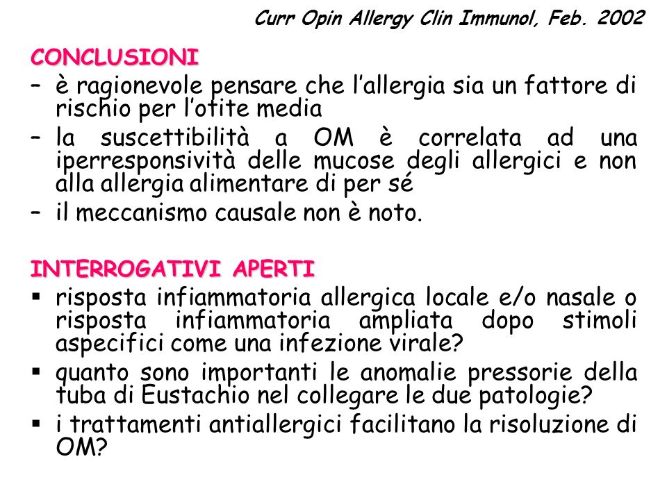 Curr Opin Allergy Clin Immunol, Feb. 2002