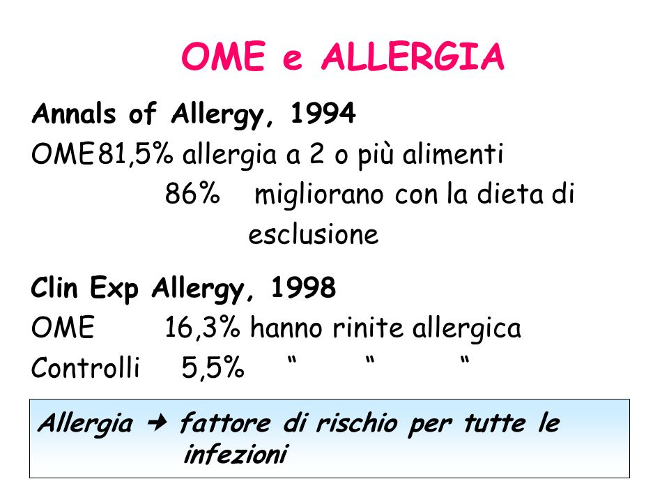 OME e ALLERGIA Annals of Allergy, 1994