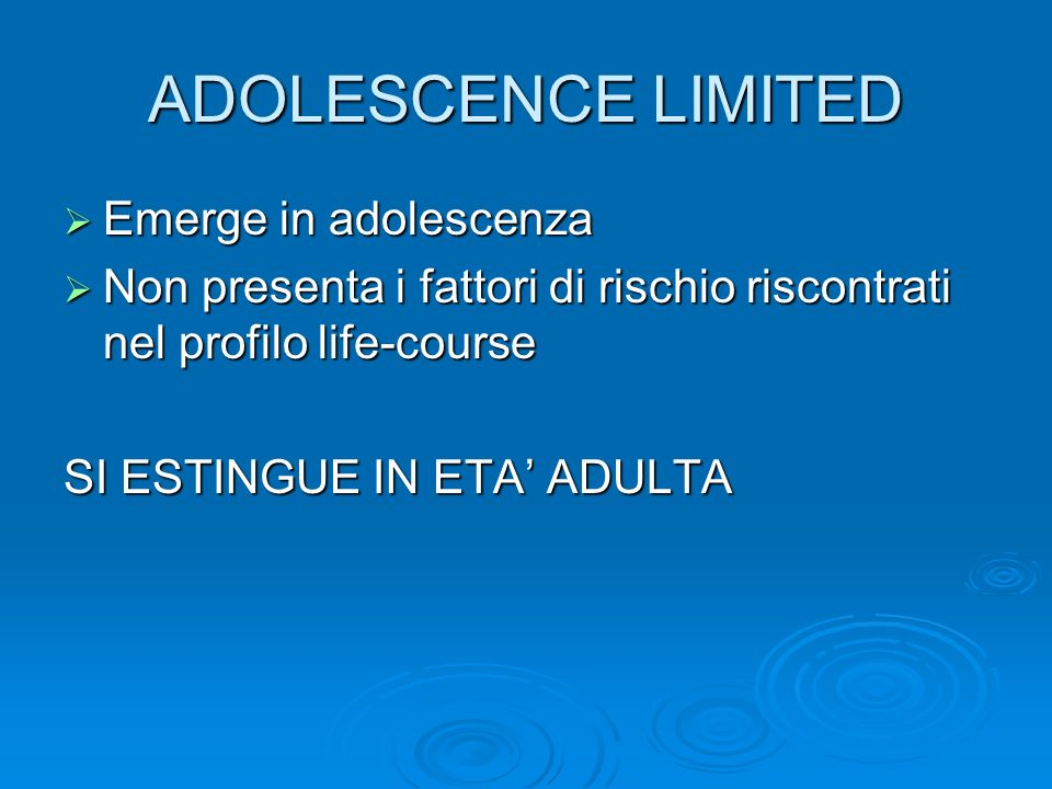 ADOLESCENCE LIMITED Emerge in adolescenza