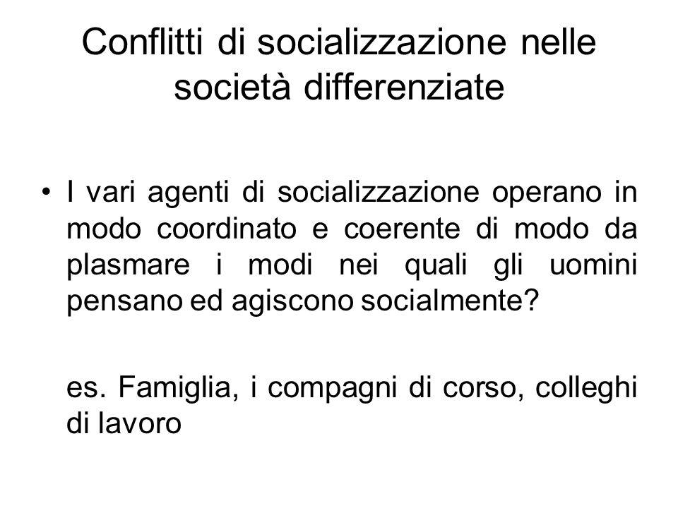 Conflitti di socializzazione nelle società differenziate