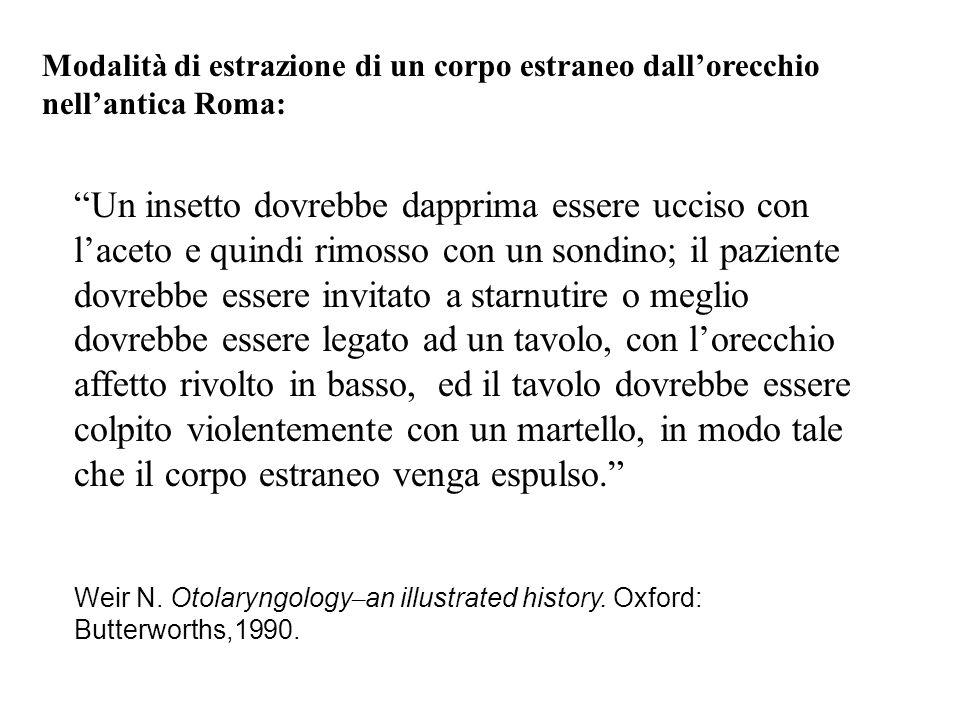 Modalità di estrazione di un corpo estraneo dall'orecchio nell'antica Roma: