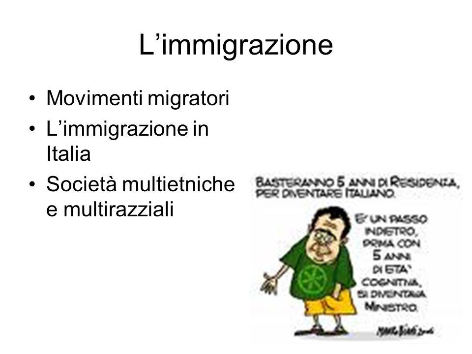 L'immigrazione Movimenti migratori L'immigrazione in Italia