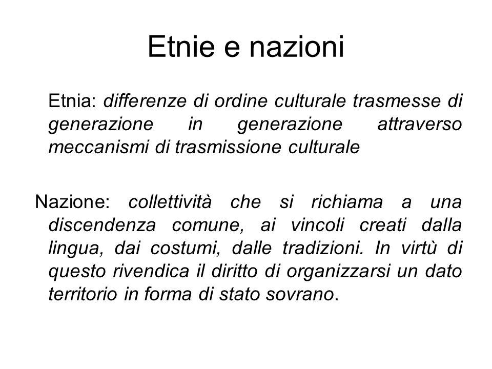 Etnie e nazioni Etnia: differenze di ordine culturale trasmesse di generazione in generazione attraverso meccanismi di trasmissione culturale.