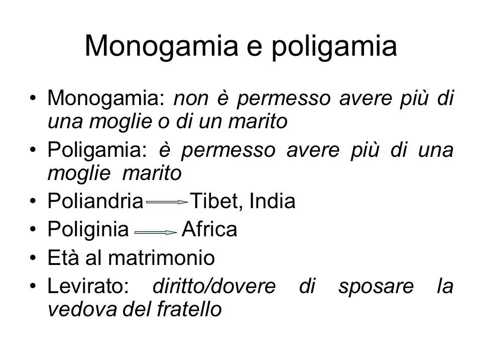 Monogamia e poligamia Monogamia: non è permesso avere più di una moglie o di un marito. Poligamia: è permesso avere più di una moglie marito.