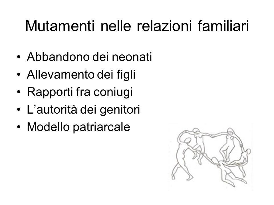 Mutamenti nelle relazioni familiari