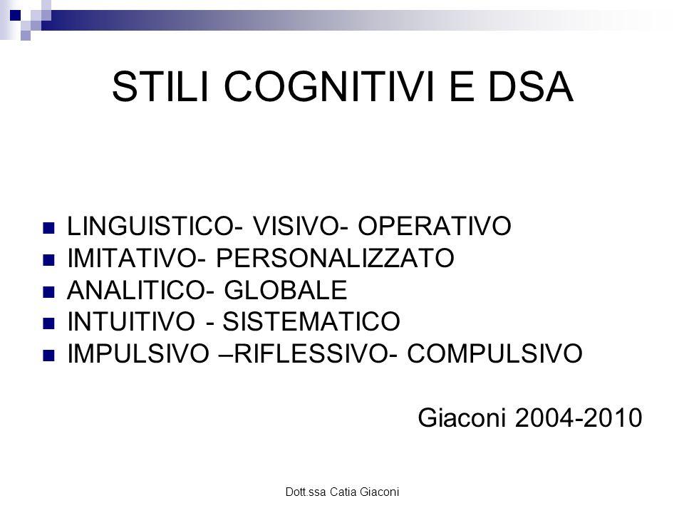 STILI COGNITIVI E DSA LINGUISTICO- VISIVO- OPERATIVO