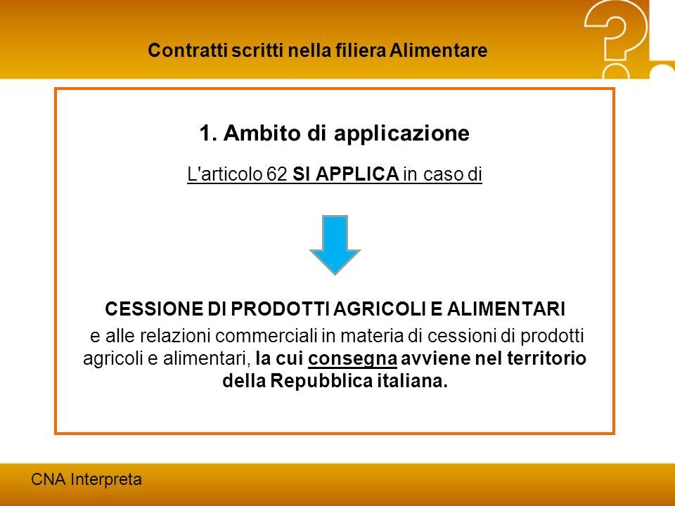 1. Ambito di applicazione CESSIONE DI PRODOTTI AGRICOLI E ALIMENTARI