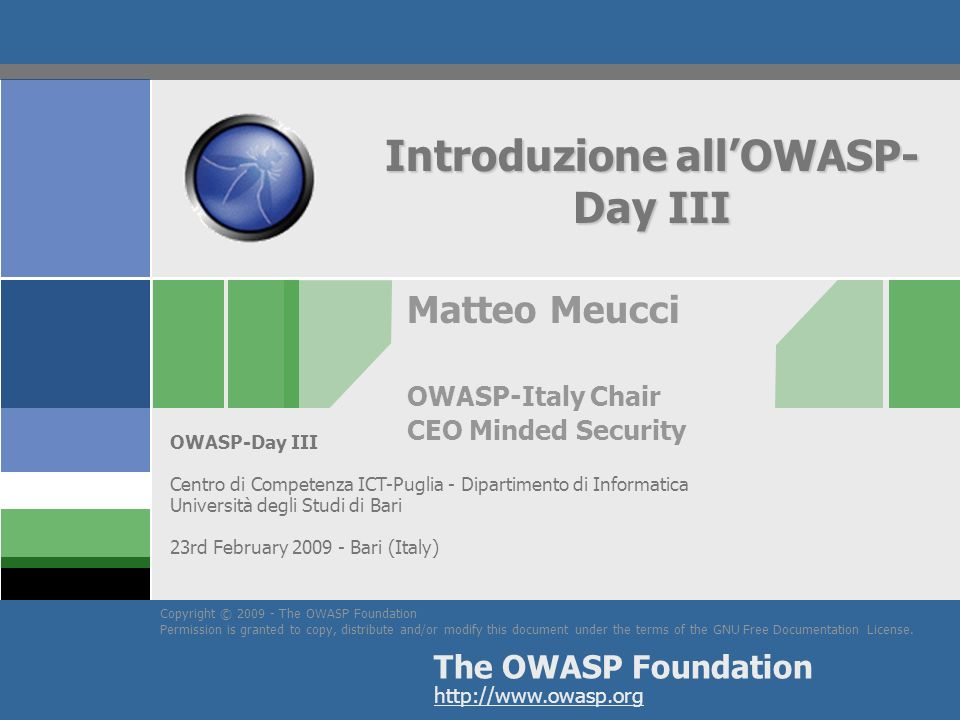 Introduzione all'OWASP-Day III