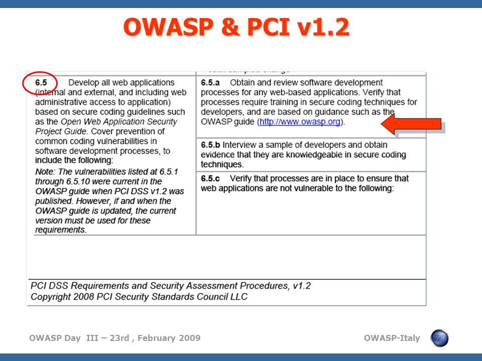 OWASP & PCI v1.2