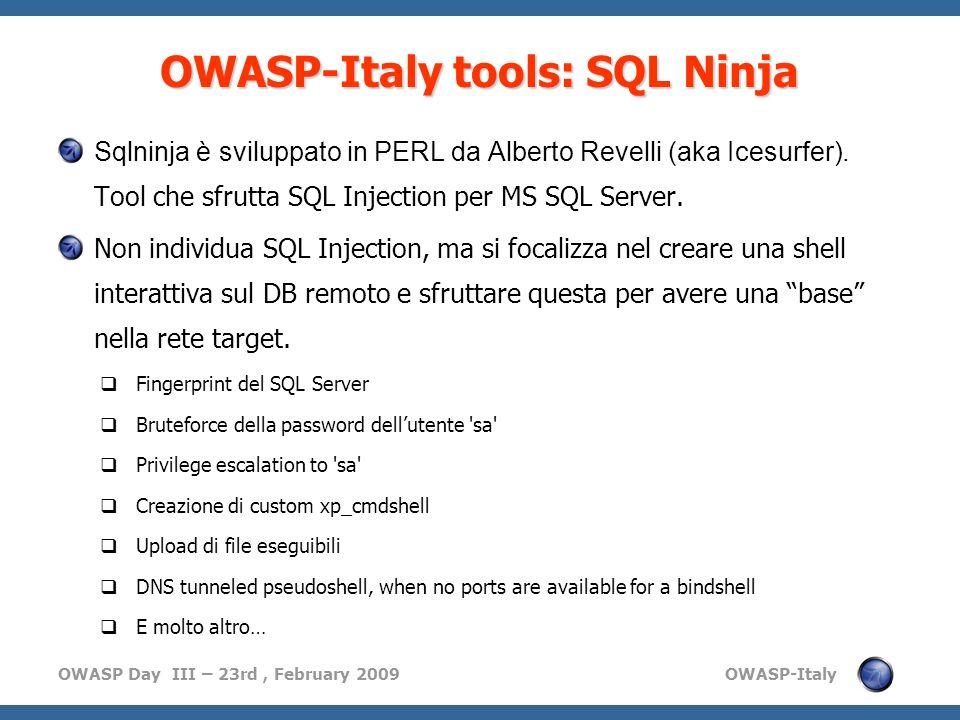OWASP-Italy tools: SQL Ninja